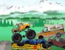 モンスタートラックで障害物を乗り越えて進んでいくゲーム トラック トライアルズ