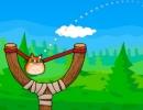 マウスで猫を引っ張って輪っかに通すゲーム アングリー キャット ショット
